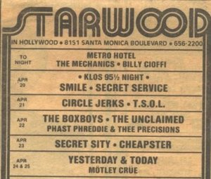21th April 1981 - Circle Jerks, TSOL at the Starwood in West Hollywood, CA