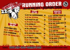 Running Order Endless Summer 2019