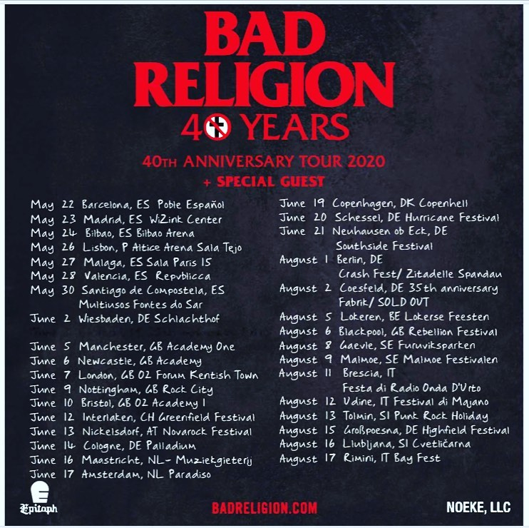 40 Years of Bad Religion - Anniversary-Tour 2020