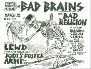Bad Brains, Bad Religon - Flyer