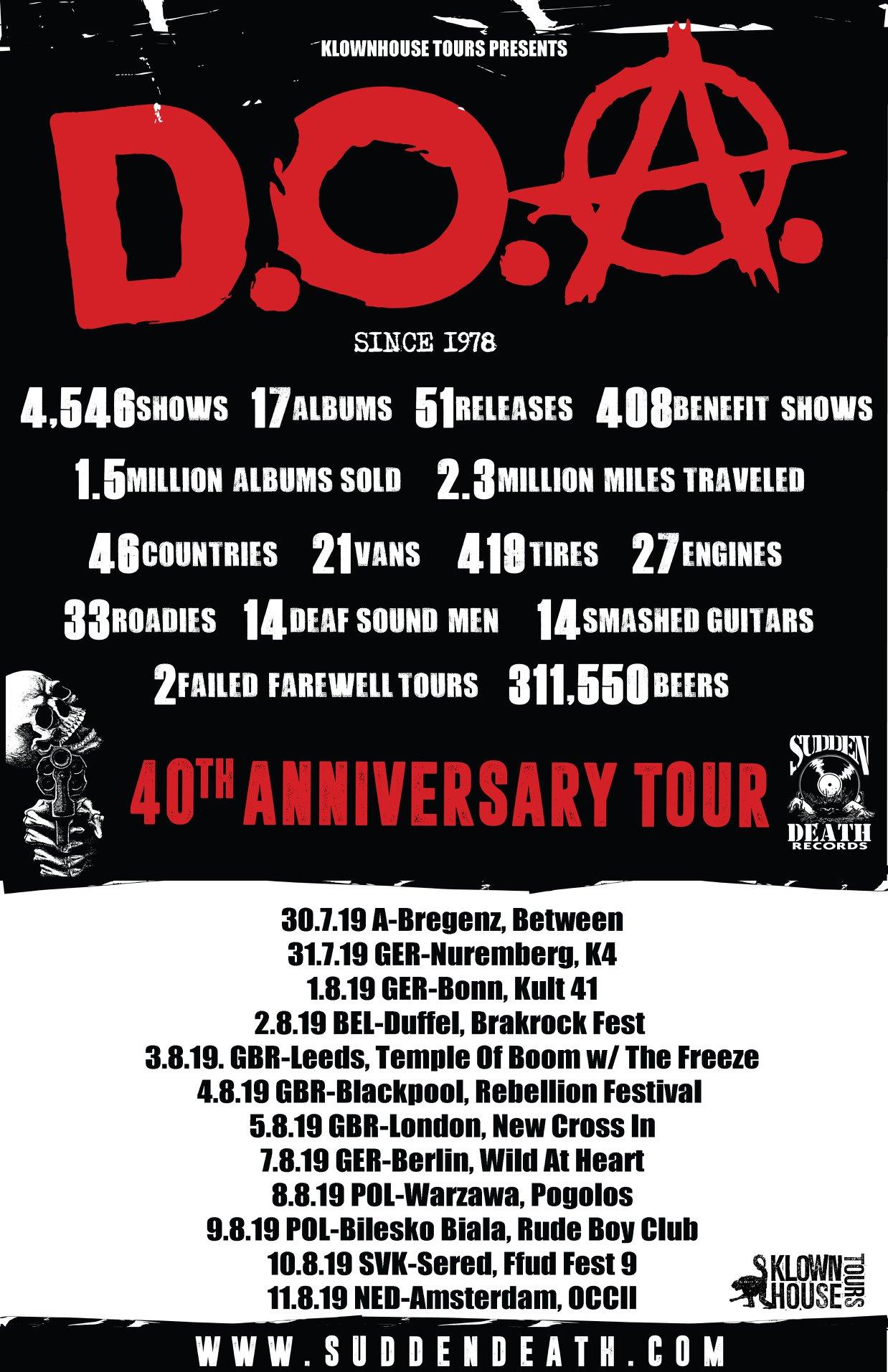 D.O.A. - Europa-Tour 2019