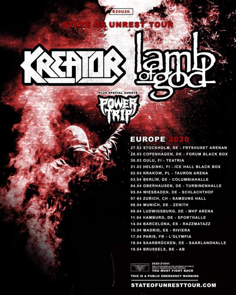 Power Trip mit Kreator und Lamb Of God auf Europa-Tour