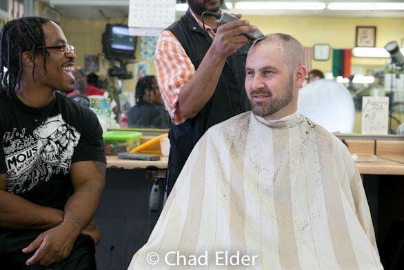 Daniel in his local barber shop in South Central.