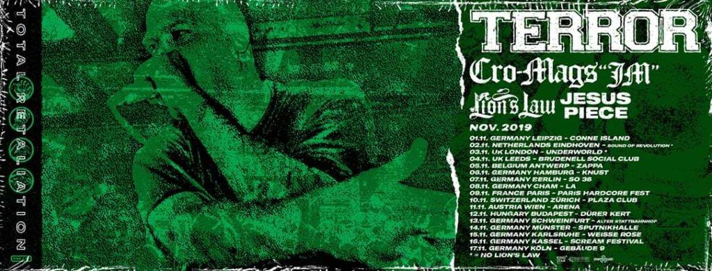 Terror, Cro-Mags JM, Lion's Law & Jesus Piece Europa-Tour 2019