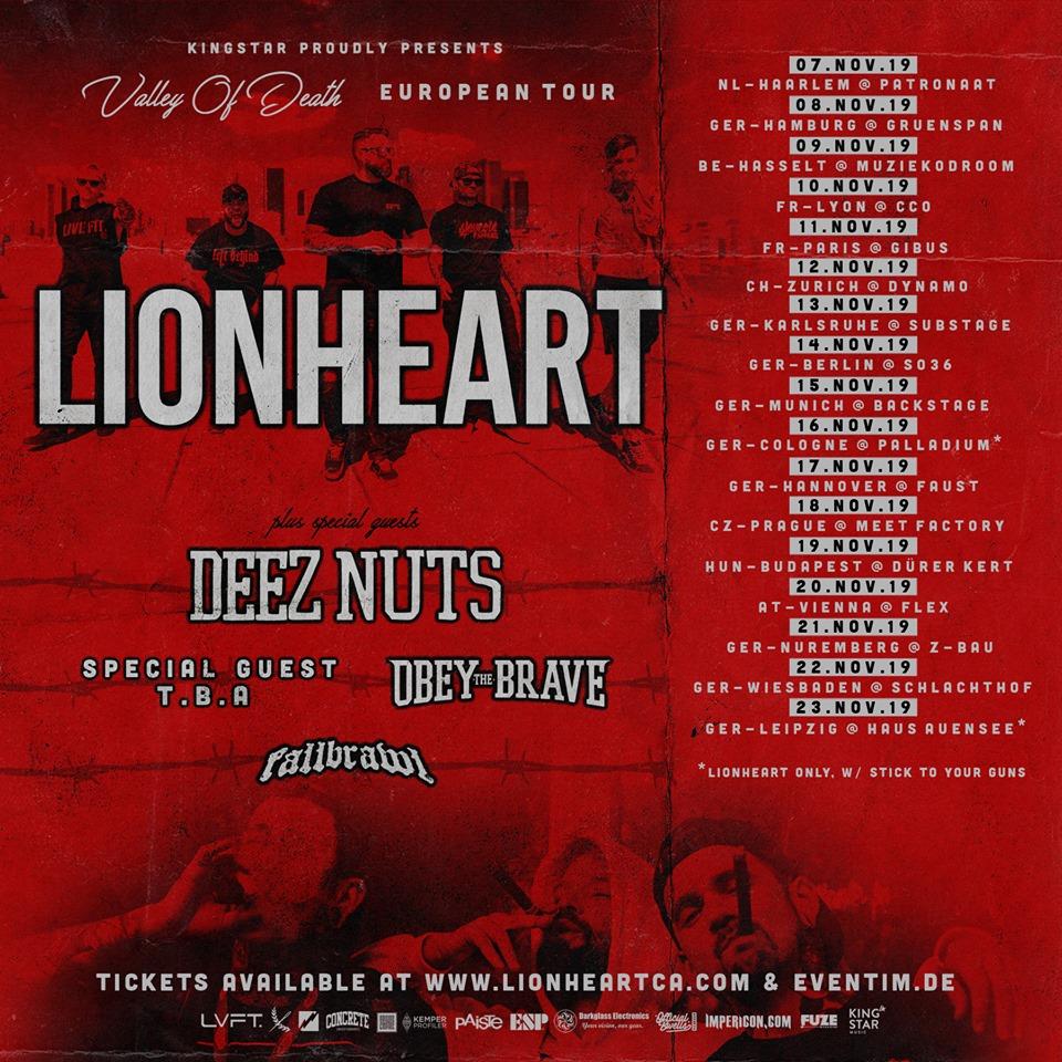 Lionheart - Deez Nuts - Europa-Tour 2019