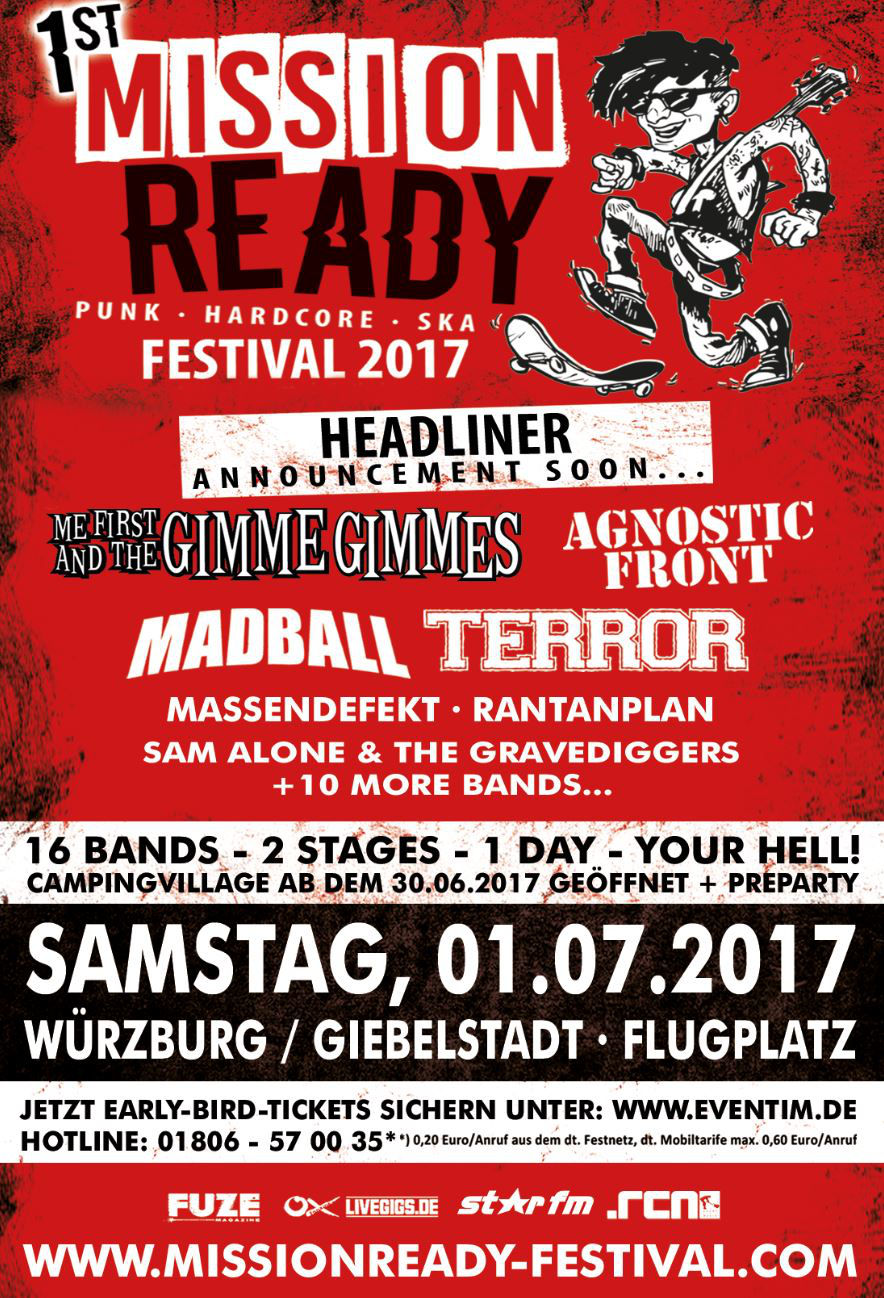 Mission Ready Festival mit Flogging Molly, Me First, Madball, Agnostic Front