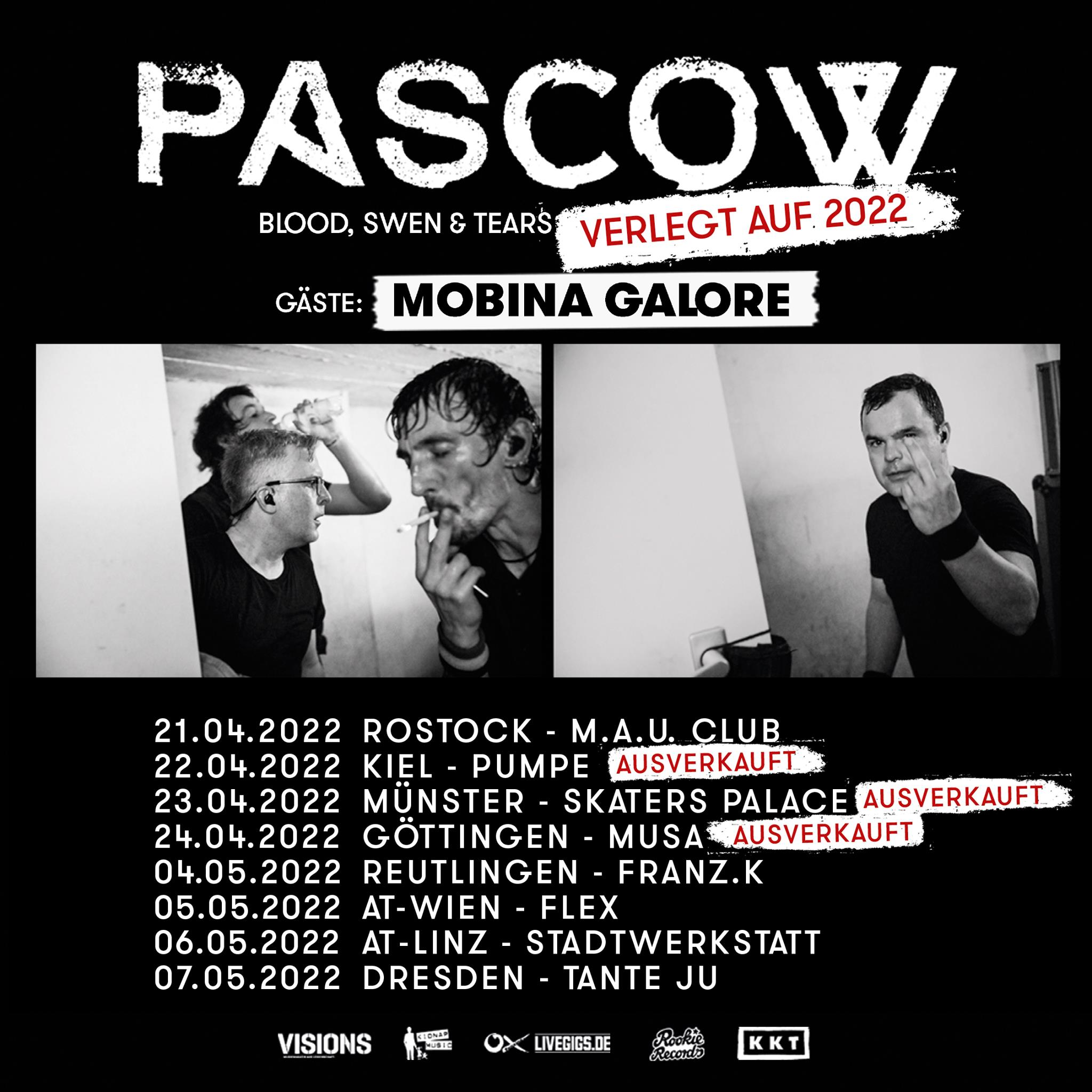 PASCOW - Blood, Swen & Tears - Tour 2022