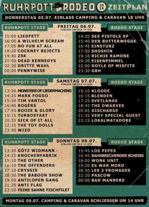 Ruhrpott Rodeo 2018 - Zeitplan - Timetable