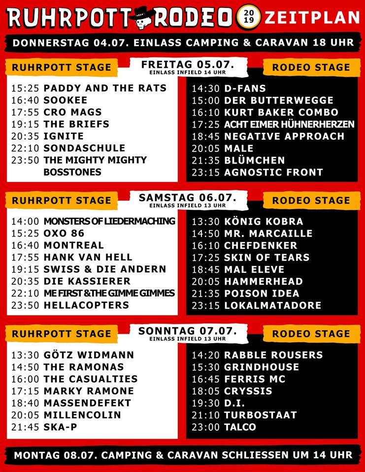 Ruhrpott Rodeo - Zeitplan - Timetable - Running Order