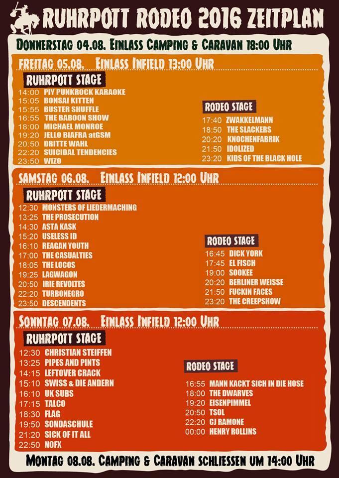 Ruhrpott Rodeo Zeitplan