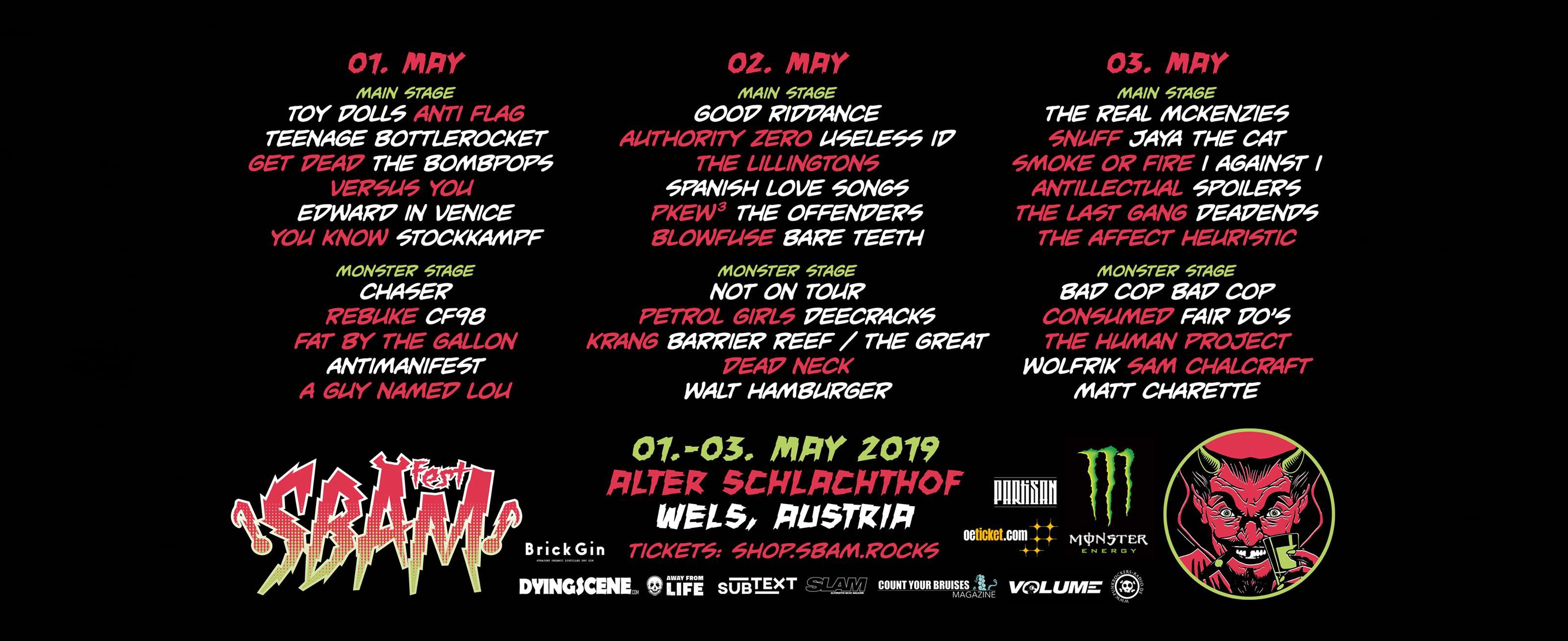 Das Line-Up des SBÄM Festivals im Mai 2019