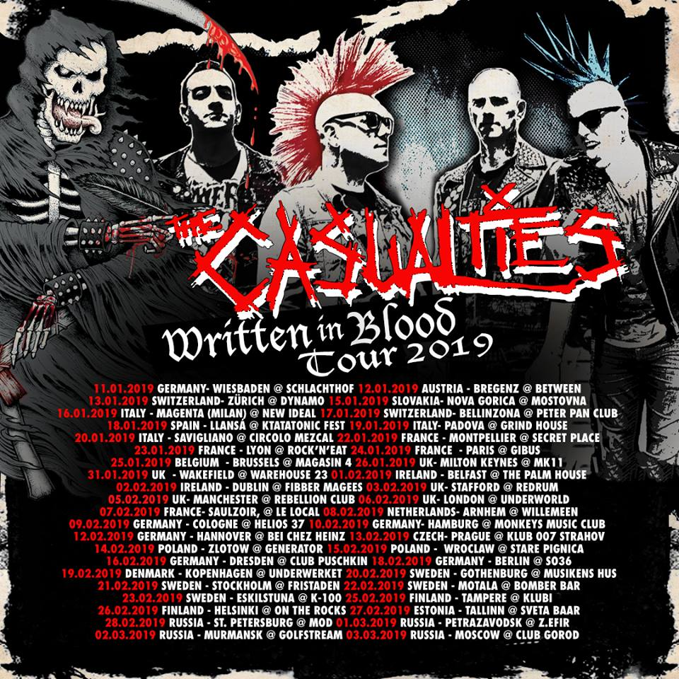 The Casualties - Written In Blood-Tour 2019