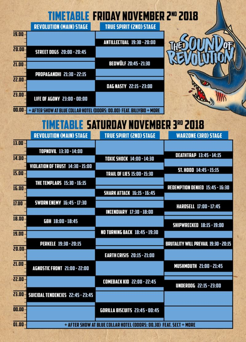 The Sound Of Revolution 2018 - Timetable
